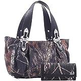 (B23-3)Mossy Oak Studded Buckle Camouflage Print Handbag And Wallet Set