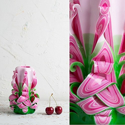 Decorative Carved Candle Premium Pink Green Handmade - Birthday for Dad and Women Gift - EveCandles ()