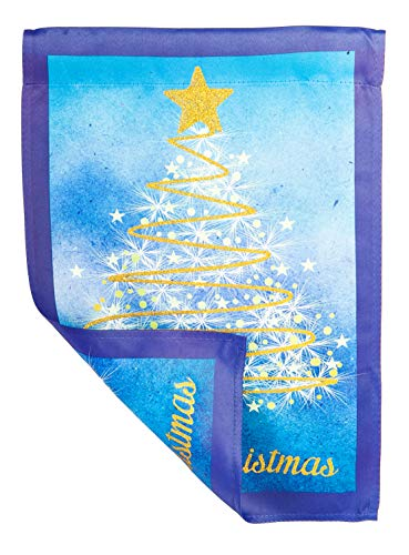 Evergreen Golden Christmas Tree Suede Garden Flag, 12.5 x 18 inches