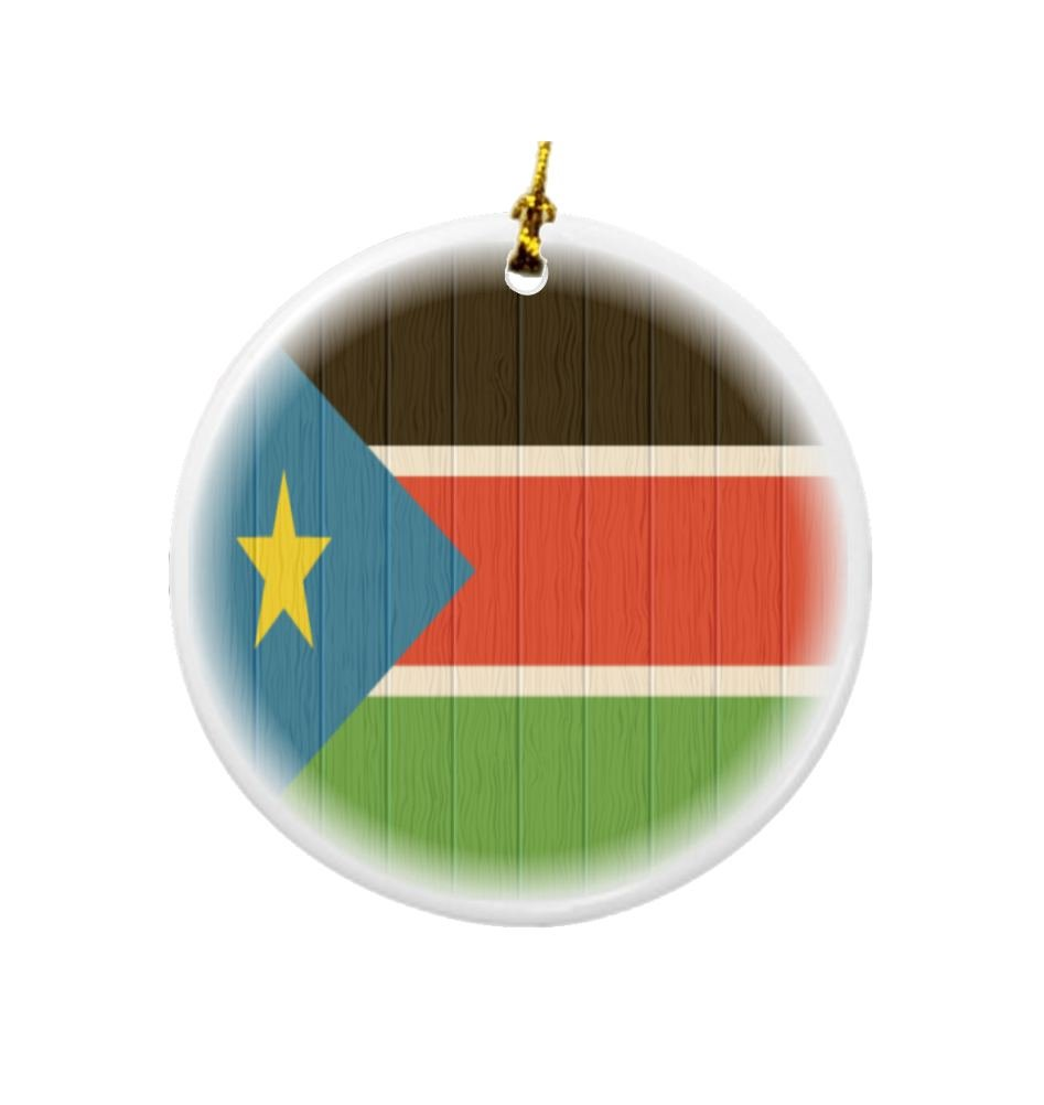 Rikki Knight South Sudan Flag on Distressed Wood Design Round Porcelain Two-Sided Christmas Ornaments