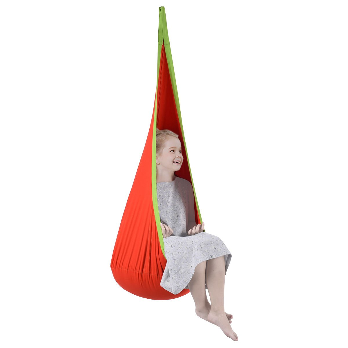 K&A Company Swing Seat Hanging Hammock Indoor Outdoor Child Tent Kids Chair Nook Pod Reading Travel Orange