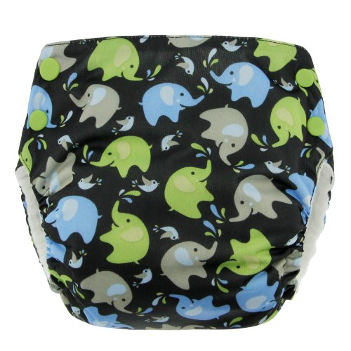 Blueberry Basix All in One Diapers, Elephants, Large