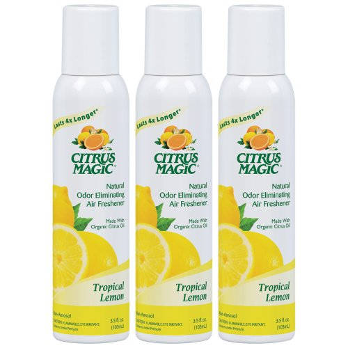 Citrus Magic Natural Odor Eliminating Air Freshener Spray Tropical Lemon, Pack of 3, 3.0-Ounces - Lemon Natural