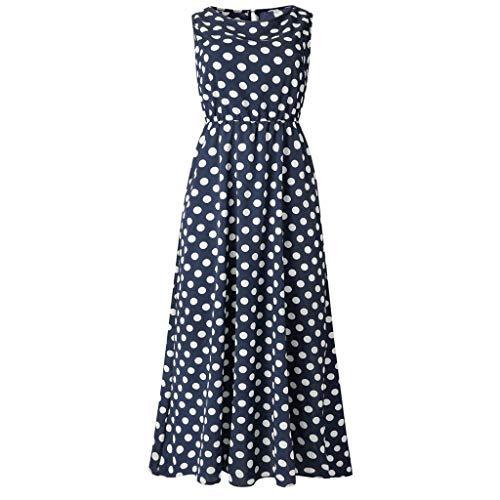 (❤Women's Loose Maxi Dresses, Ladies Summer Casual Sleeveless Dot Printing Boho Beach Dress)