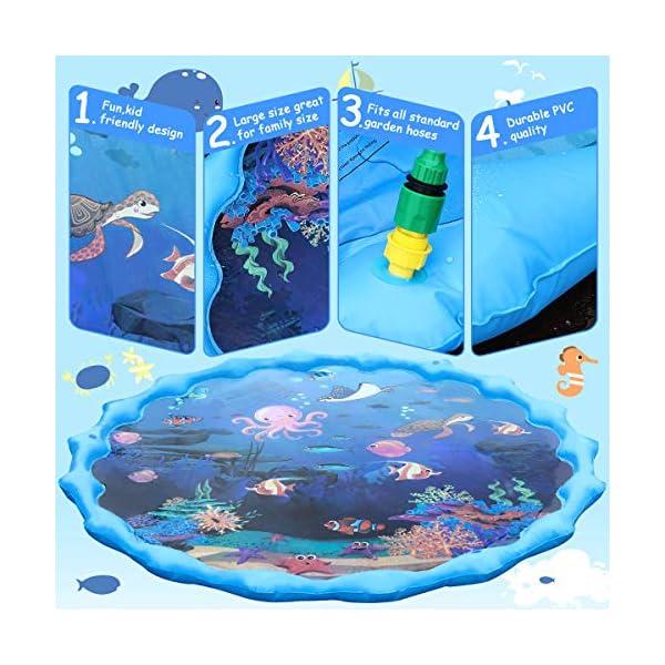 Tappetino Gioco d'Acqua per Bambini,68 Pollici Bambini Giochi d'Acqua Gioco di Spruzzi d'Acqua Tappetino,Gioco da… 3 spesavip