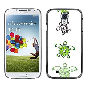 Design for Girls Plastic Cover Case FOR Samsung Galaxy S4 Turtle Lime Pattern Cute White Art Animal OBBA