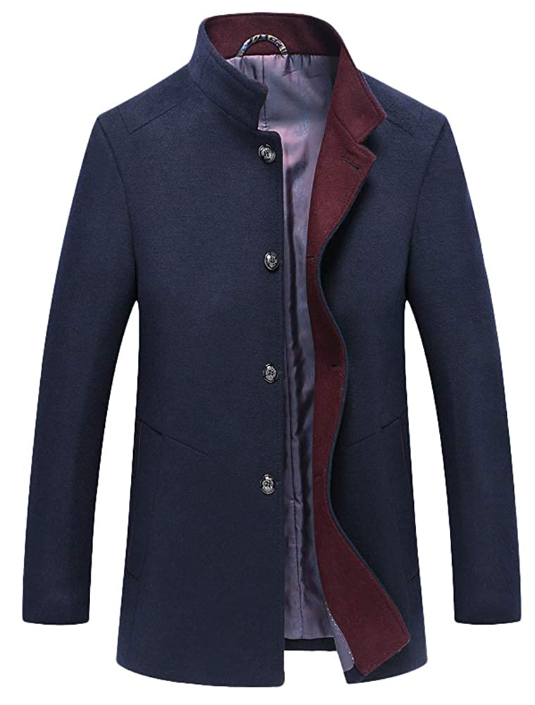 Men's Vintage Style Coats and Jackets Mordenmiss Mens Wool Trench Coats Winter Warm Business Jacket Overcoat Outwear $69.99 AT vintagedancer.com