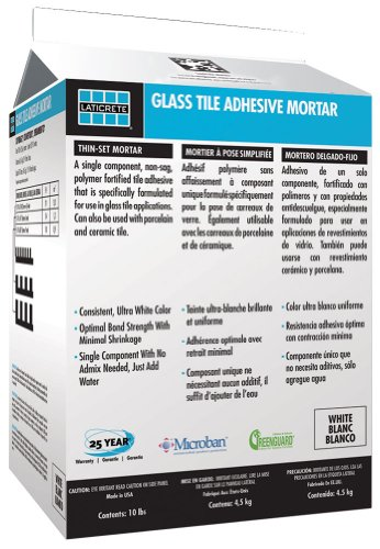 LATICRETE GLASS TILE ADHESIVE MORTAR 25LB WHITE (Best Thinset For Glass Tile)