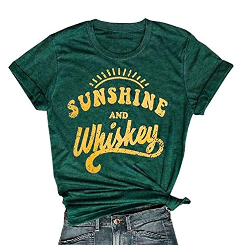 Enmeng Womens Sunshine and Whiskey T-Shirt Casual Beach Country Music Party Drinking Tees (L, Green)