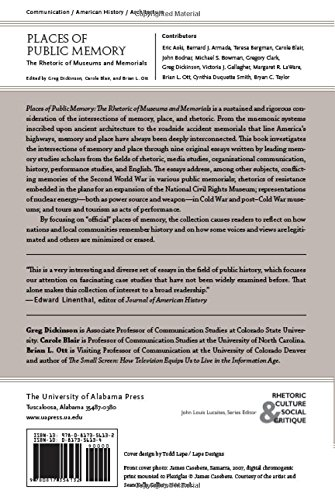 Places of Public Memory: The Rhetoric of Museums and Memorials (Albma Rhetoric Cult & Soc Crit) by University Alabama Press