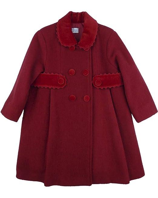 FOQUE - Abrigo de paño Rojo para niña. Cuello y Cinturilla de Terciopelo. Cierre