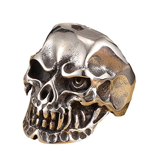 Large Death Freak Skull Head Stainless Steel Ring Biker Retro (Deaths Head Ring)