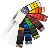 Dyvicl Watercolor Paint Set - 42 Assorted Watercolors Foldable Pocket Travel Watercolor Kit with Brush for Artists, Beginners, Students, Field Sketch Set