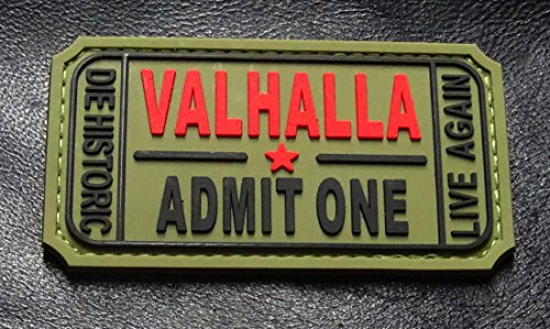 Ticket to Valhalla Admit One Vikings Mad Max PVC Rubber Morale Hook Patch - To Valhalla