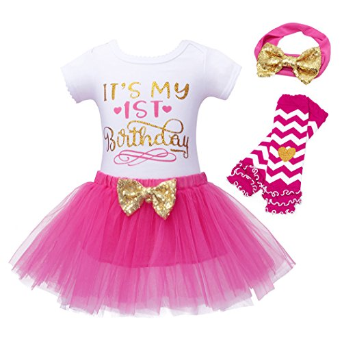 HenzWorld Baby Birthday Costume Party Romper Tutu Skirt Headband Stripes Leggings Toddlers Cosplay 2t