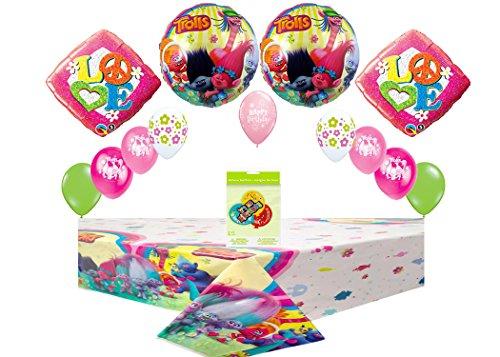 Trolls Mega Decoration & Balloon Pack ~ 1 CT Table Cover, & Birthday Deluxe Button& Bonus Balloon Bouquet