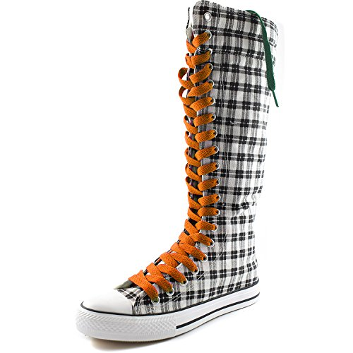 Lace Boots Sneaker Tall Orange Sweet Boots Womens Wht Punk Canvas DailyShoes Casual Grey Flat Plaid Mid Calf xaq0IOZqAw