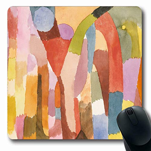 Ahawoso Mousepads for Computers Swiss Watercolor Movement Vaulted Chambers by Drawing Paul Klee 20Th Century Arches Design Edges Oblong Shape 7.9 x 9.5 Inches Non-Slip Oblong Gaming Mouse Pad