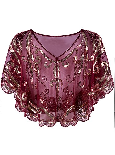 Vijiv Womens Vintage 1920s Evening Cape Shawl Wrap Beaded Sequin Deco Gatsby Flapper Bolero Cover Up