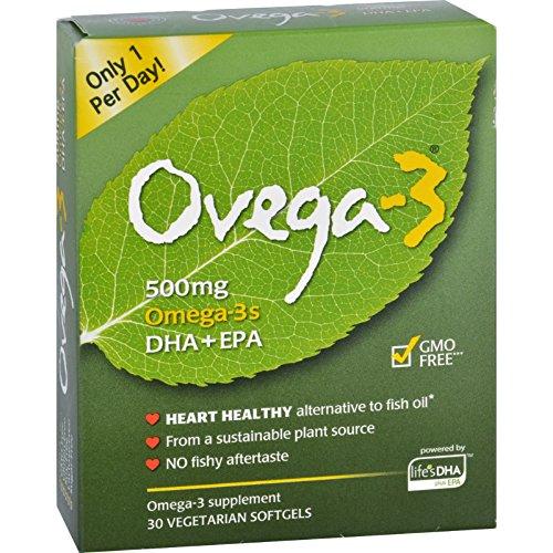 30 Softgels Vegetarian (Ovega Ovega 3 - 500 Milligram - Heart Heathy - no Fishy Aftertaste - Non GMO - 30 Vegetarian Softgels)