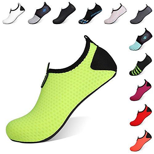 Heeta Barefoot Water Sports Shoes for Women Men Quick Dry Aqua Socks for Beach Pool Swim Yoga Dot_Green M from Heeta