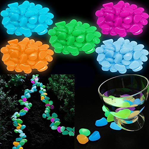 YuCool 220 Pcs Glow in The Dark Garden Pebbles Stones, Pebbles Rocks for Garden Walkways Outdoor Path Patio Lawn Yard Fish Tank Decorations - Blue, Light Blue, Green, Orange, Rose Red ()