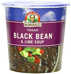 Dr. McDougall\'s Right Foods Vegan Black Bean & Lime Soup, 3.4-Ounce Cups (Pack of 6)