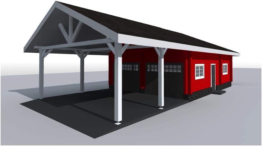 ECOHOUSEMART| Kit de Garaje de Troncos con Puerto para 2 vehículos | Prefab DIY Cabina de construcción hogar | GLT Engineered Wood Glulam | Gross Area – 1240 Sq. Cuadrados: Amazon.es: Jardín