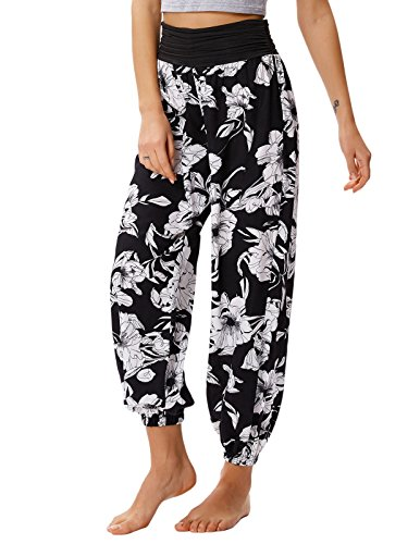 Kate Kasin Smocked Harem Yoga Pant Belly Dance Boho Trousers L Black ()