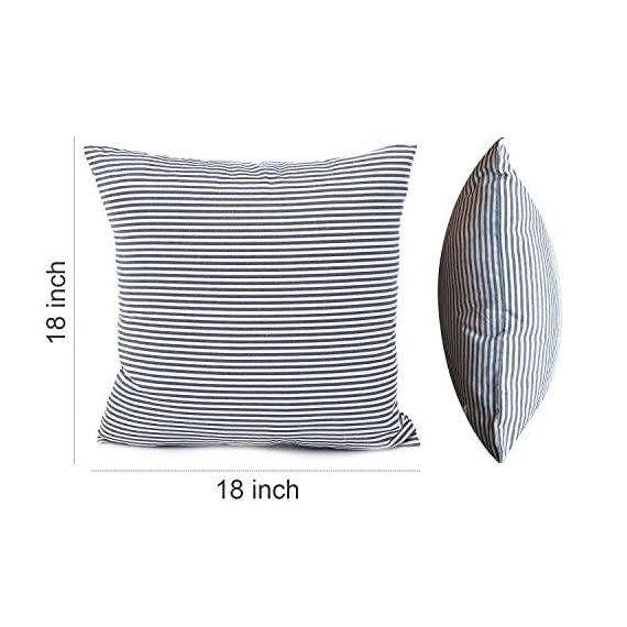 """Shamrockers Farmhouse Striped Throw Pillow Cover Decorative Cotton Linen Ticking Stripe Cushion Pillowcase (18""""x18"""", Navy, Pack of 2) - Material: 100% Cotton Linen & Imported; Features: Invisible Zipper, Sturdy and Smooth, Large 16 Inch (approx.) opening for EASY INSERTION and removal of pillows, Tight zigzag over-lock stitches to avoid fraying and ripping. Double sewing at 4 sides with the tear-proof design. Its hard to be tore and durable; Design & Occasion: Same design / pattern on BOTH SIDES of these blue and white throw pillow covers, make a modern and natural look to your room. Suitable for Sofa, Bed, Home Decor, Office, Car. - patio, outdoor-throw-pillows, outdoor-decor - 51XjdS8jDhL. SS570  -"""