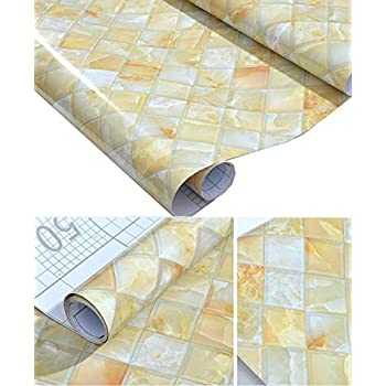 Amazon Com Faux Gloss Marble Tile Contact Paper Self
