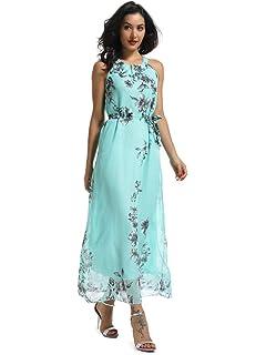 1ec1c79c5ac9e6 OCHENTA Women s Sleeveless Halter Neck Floral Print Chiffon Maxi Dress