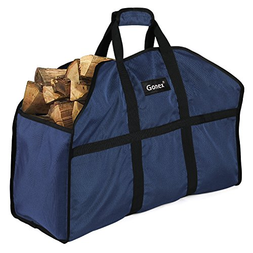 Gonex Firewood Log Carrier, Nylon Log Tote Bag for Fireplaces & Wood Stoves, Durable and Waterproof Extra Large(25.6x11.8x10.6inch) Blue