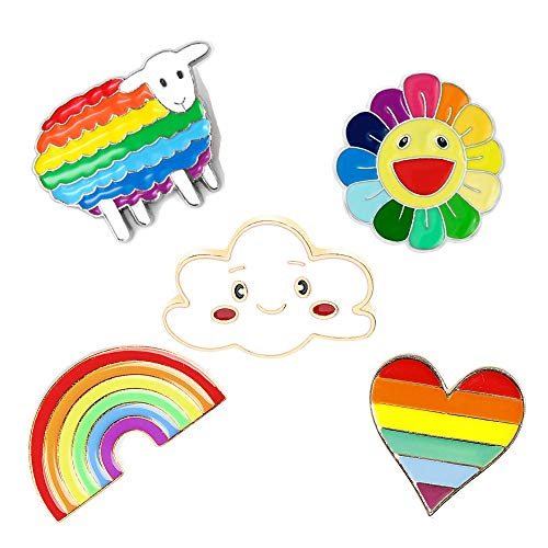 (PunkStyle Creative Plant Animal Fruit Enamel Brooches Pins for Women Girls Clothing Bag Decor (Rainbow Sheep Sun Flower Brooch 5pcs))