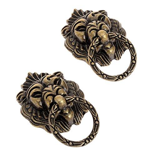 Lion Small Brass Head Knob (Dophee 6Pcs Vintage Brass Lion Head Cabinet Dresser Drawer Pulls Door Knobs Handles)