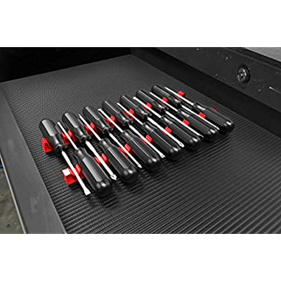 Screwdriver Organizer for Tool Boxes by Olsa Tools | Heavy Duty Low Profile Screwdriver Holder Rail Rack Set For Toolbox Drawers | Holds Up To 14 Screwdrivers | Great for Tool Storage Organization: Automotive
