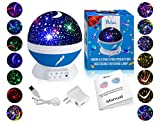 Kids Night Light for Girls, Boys, Babies, Toddlers, 4 LED Bulbs Moon Star Projector Night Light Lamp for Kids Bedroom, Nursery -Bonus Wall Charger, 4.9 ft USB Cable, Best Gift Idea Ever (Blue)