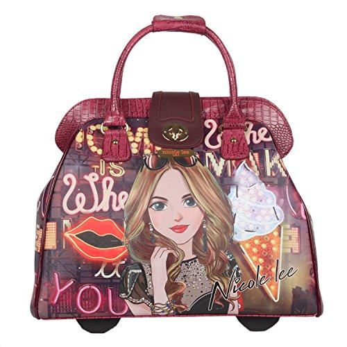 Nicole Lee Women's Fashion Print Rolling Business Laptop Compartment Travel Tote, Girl's Night Out, One Size by Nicole Lee