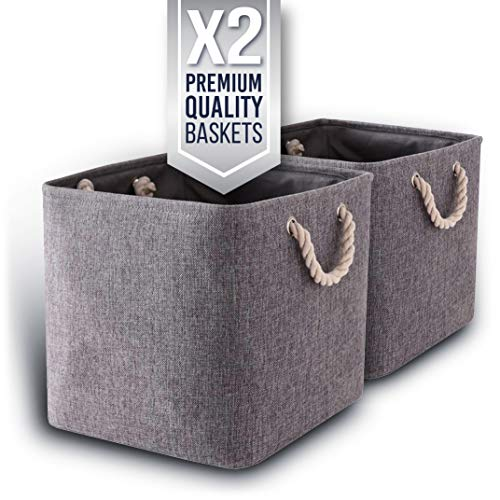 Foldable Storage Baskets Square with Strong Rope Handles | Storage Organizer Bins for Nursery, Kids Storage, Home Decor | Large Size: Set of 2 (L:13.4 x W:13.4 x H:12.2 in)