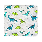 Muslin Baby Swaddle Blanket, 44 x44  100% Cotton Soft Unisex for Boys or Girls Printed Floral Nursing Receiving Swaddle Wrap Burp Cloth Stroller Cover (Dinosaur)