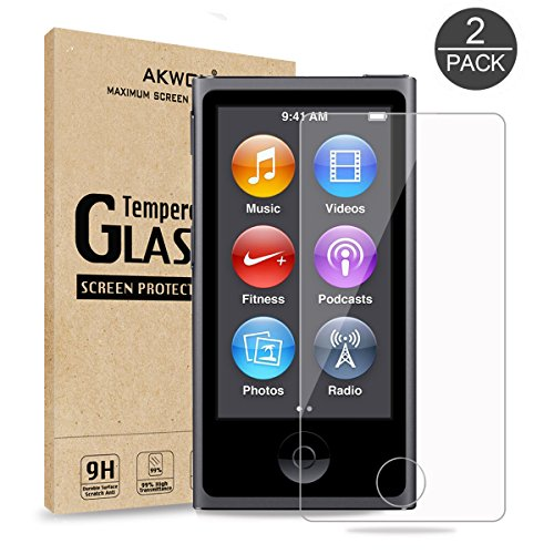 AKWOX (Pack of 2) Screen Protector for iPod Nano 7 8th 0.33mm High Definition Clear Tempered Glass Screen Protector Guard Film for iPod Nano 8th/7 Generation,Shockproof and Scratch-Resistant