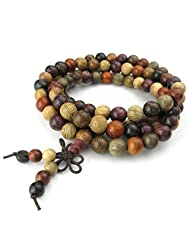 Konov Jewelry Wood Mens Womens Bracelet, 8mm Tibetan Sandalwood Beads Buddhist Prayer Mala, Yoga Necklace, Brown Red, with Gift Bag, C24669