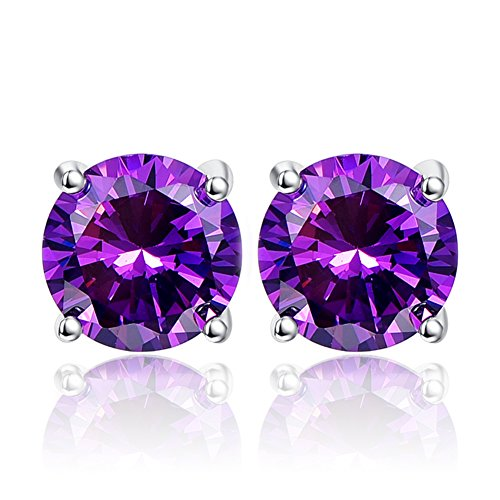 BONLAVIE 925 Sterling Silver 10mm Round Cut 13CT Created Purple Amethyst Stud Earrings, February Birthstone
