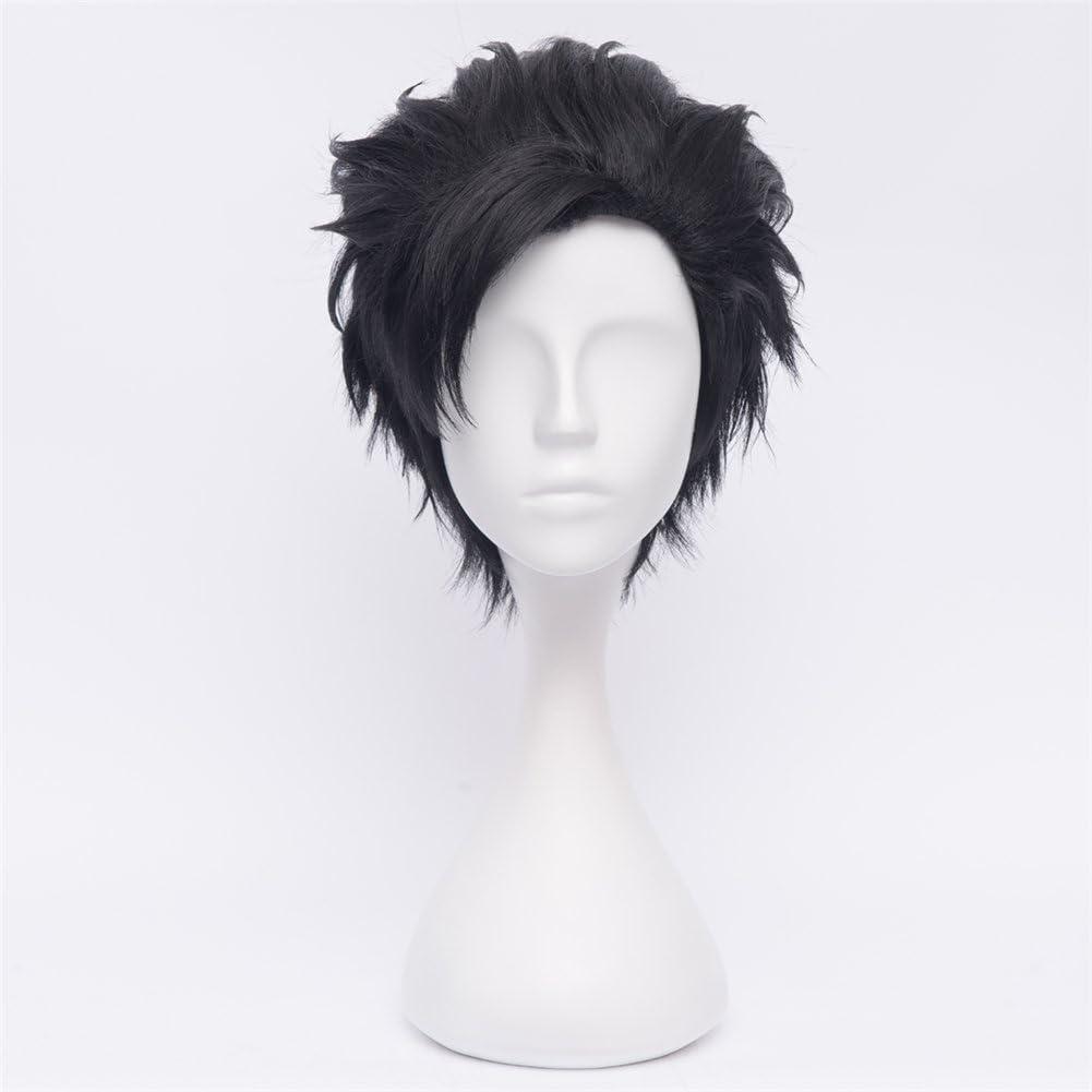 NiceLisa Tetsurou Kuroo Cool Boy Noir Slick arri/ère f/ête dHalloween Porter au quotidien Cosplay Perruque