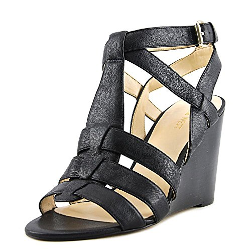 Nine West de piel Farfalla Mujer Sandalias de cuña Black2 Leather