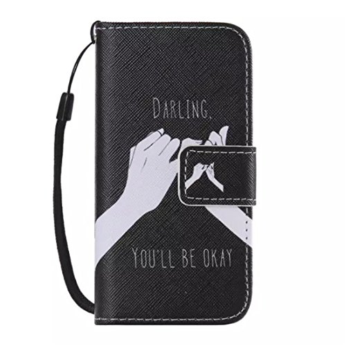 Pedestal Darling - 5S Case,iPhone 5S Case,LYO[Darling You'll be okay][Kickstand Feature][Stand Feature] Luxury Wallet PU Leather Folio Wallet Flip Case Cover Built-in Card Slots for Apple iPhone 5 / 5S with Hand Strap