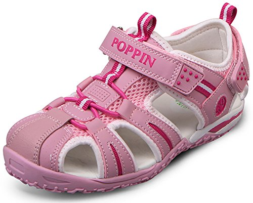 Poppin Kicks Boys' Girls' Fisherman Closed Toe Sport Sandals Light Pink 12.5 M US Little Kid