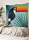 "Geo Bird Wall Tapestry Fabric Wallpaper Home Decor,60""x 80"",Twin Size"