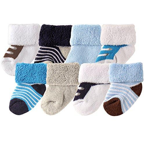 Luvable Friends Unisex Baby Socks, Blue Shoes 8-Pack, 6-12 ()