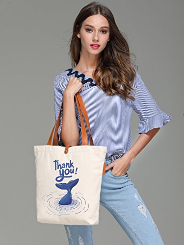 So'each Women's Thank You Letters Graphic Top Handle Canvas Tote Shoulder Bag